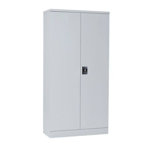 Slimline Double Door Cupboard 1829H X 914W X 400D Grey 3 With Shelves