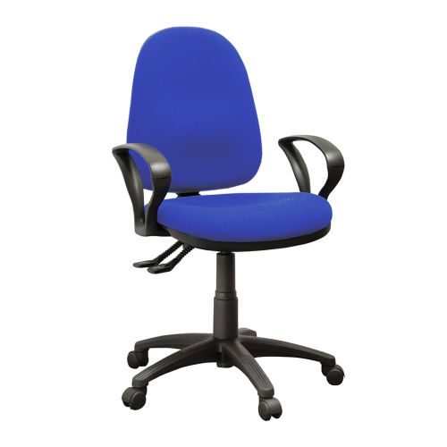 Operator High Back Chair With Fixed Arms, Advantage Cobalt Blue AD004 Fabric