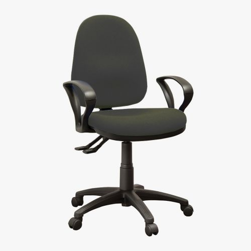 Operator High Back Chair With Fixed Arms, Advantage Charcoal AD028 Fabric