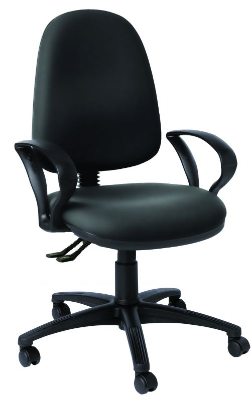Operator High Back Chair With Fixed Arms, Trimcell Legend Antelope Black Vinyl