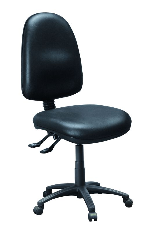 Operator High Back Chair With No Arms, Trimcell Legend Antelope Black Vinyl