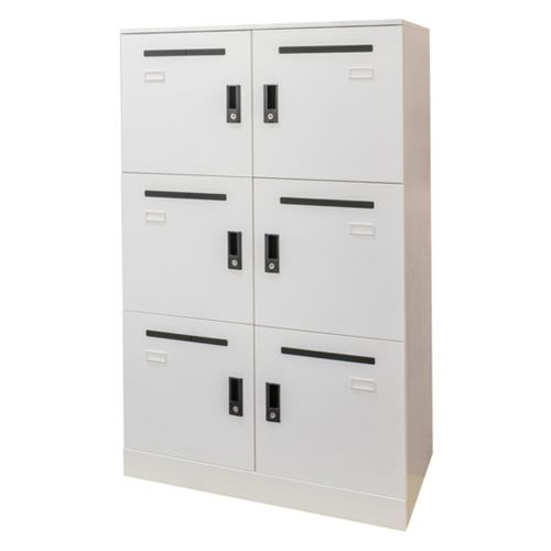 6 Door Office Locker With Mail Slot White
