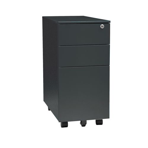 3 Drawer Slim Steel Mobile Pedestal, 600H X 300W X 500D, Black