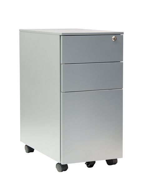 3 Drawer Slim Steel Mobile Pedestal, 600H X 300W X 500D, Silver