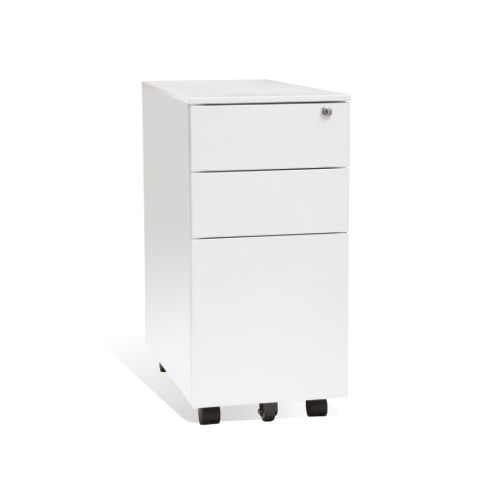 3 Drawer Slim Steel Mobile Pedestal White