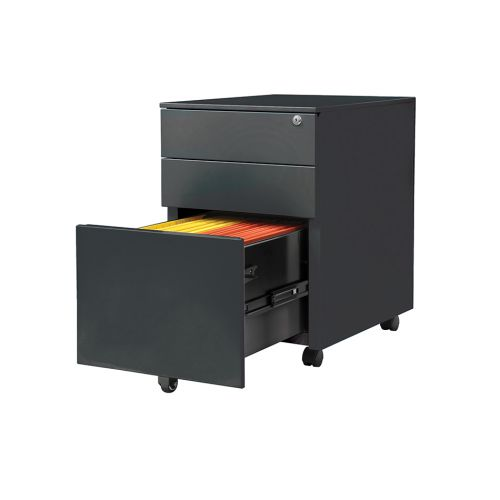3 Drawer Steel Mobile Pedestal, 600H X 400W X 500D, Black