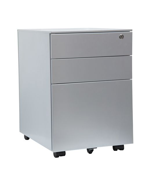 3 Drawer Steel Mobile Pedestal Silver