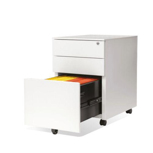 3 Drawer Steel Mobile Pedestal, 600H X 400W X 500D, White