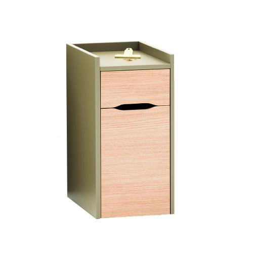 W315 x H635 x D450mm single door and single drawer pedestal on hidden castors