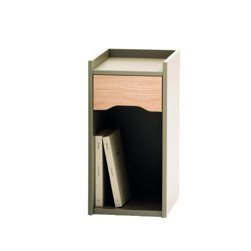 W315 x H635 x D450mm single drawer pedestal with open base on hidden castors