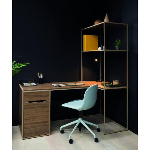W1200 x D600mm work from home desk with low storage pedestal & shelving - left hand