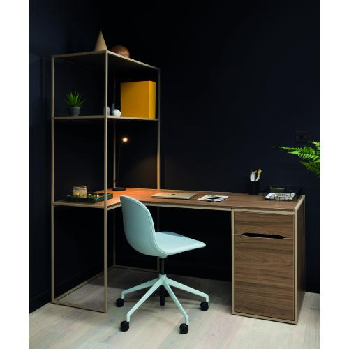 W1200 x D600mm work from home desk with low storage pedestal & shelving - right hand