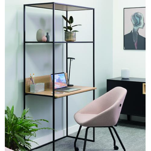 W900 x D500mm desk with upstand & shelving, steel powder-coated frame.