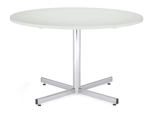 Bistro Table 1000 Diameter, Melamine White Top, Chrome 740H Leg