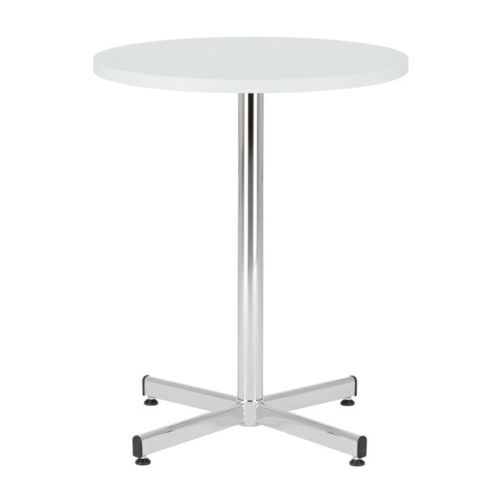 Bistro Table 800 Diameter, Melamine White Top, Chrome 1100H Leg