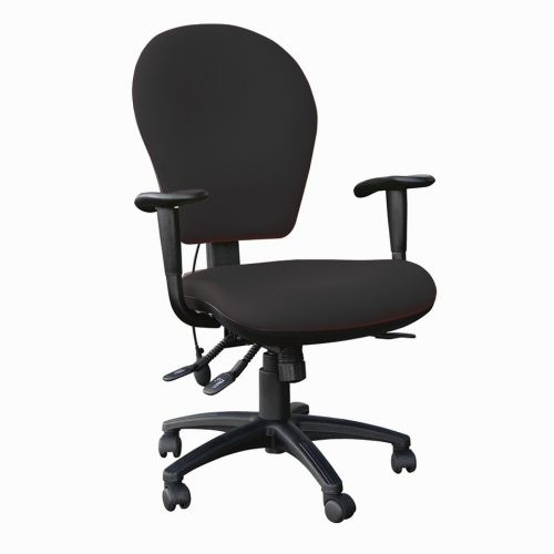 Edo Extra Comfort High Back Task Chair With Seat Slide, Inflatable Lumbar & Height Adjustable Arms, Phoenix Havana Black YP009 Fabric
