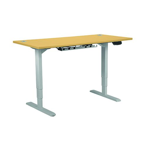 Electric Height Adjustable Desk Frame Silver, With Desktop 1400W X 800D Beech