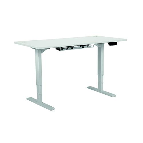 Electric Height Adjustable Desk Frame Silver, With Desktop 1400W X 800D White