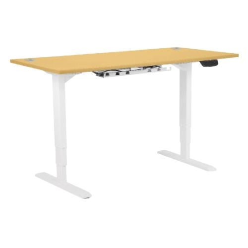 Electric Height Adjustable Desk Frame White, With Desktop 1400W X 800D Beech
