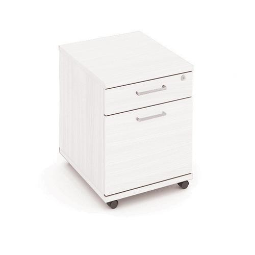 Mobile Pedestal, 2 Drawer, 1 Box & 1 File, 438W X 605D X 595H, 25mm Top, White With Silver Handles