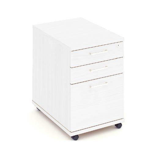 Mobile Pedestal, 3 Drawer, 3 Box, 438W X 605D X 595H, 25mm Top, White With Silver Handles