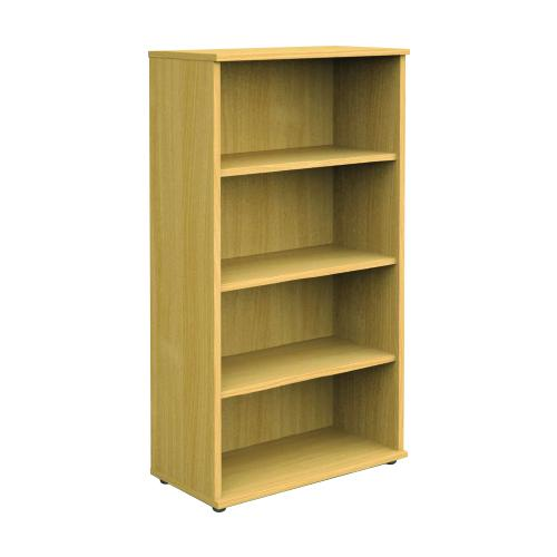 Open Bookcase With Adjustable 3 Shelves, 1600H X 800W X 410D, 25mm Top & Bottom, Beech