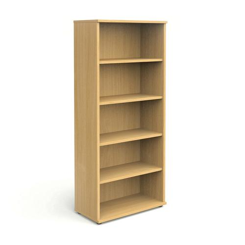 Open Bookcase With Adjustable 4 Shelves, 2000H X 800W X 410D, 25mm Top & Bottom, Beech