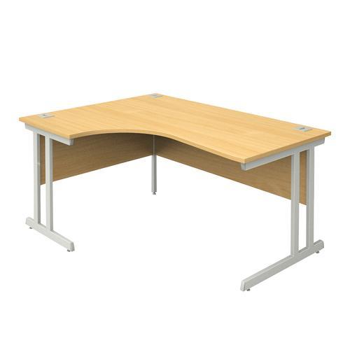 Left Hand Radial Desk, 1600W/600W X 800D/1200D X 740H, 25mm Top In Beech, Frame In Silver
