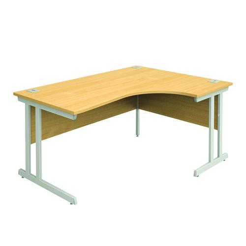 Right Hand Radial Desk, 1600W/600W X 800D/1200D X 740H, 25mm Top In Beech, Frame In Silver