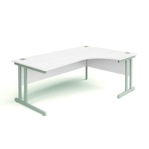 Right Hand Radial Desk, 1600W/600W X 800D/1200D X 740H, 25mm Top In Beech, Frame In Silver