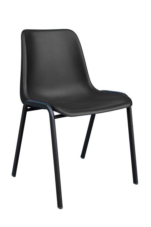 4 Legged Black Frame Stacking Chair, Black Polypropylene Shell