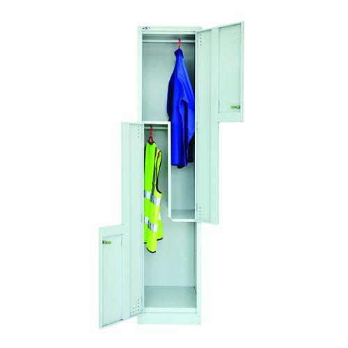 2 Door Z Locker, 1829H X 380W X 457D, Grey, Key Lock