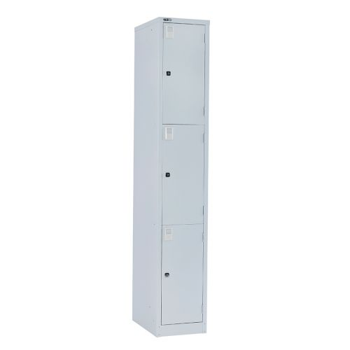 3 Door Locker, 1778H X 305W X 457D, Grey, Key Lock