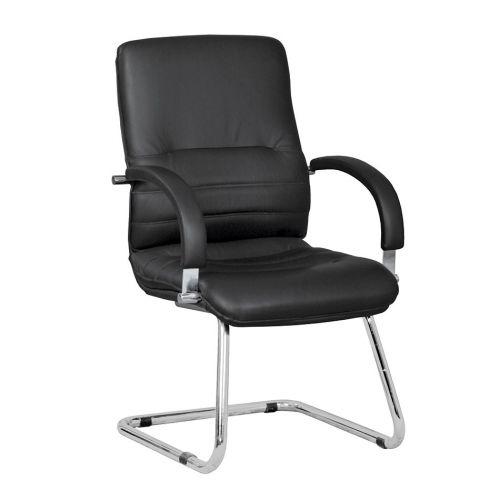Executive Leather Medium Back Armchair With A Chrome Cantilever Frame