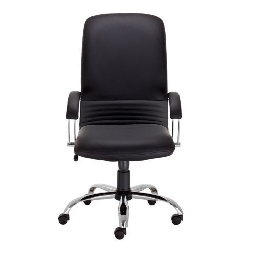 Mirage Executive High Back Armchair, Chrome Base, Black Leather, Requires Assembly