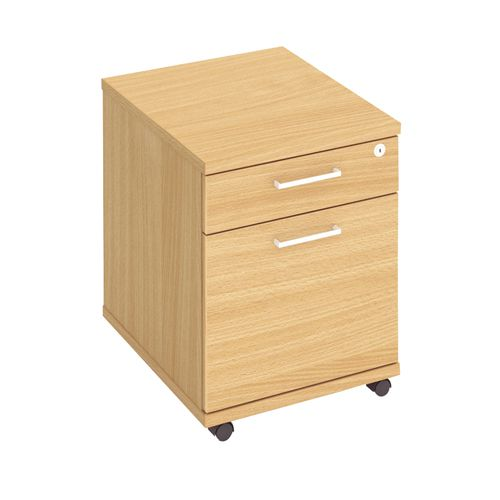 Mix 2 Drawer Mobile Pedestal Beech