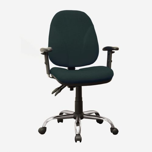 High Back Operators Chair With Height Adjustable Arms, Black Fabric, Requires Assembly