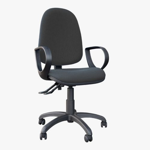 High Back Operators Chair With Fixed Arms In Charcoal