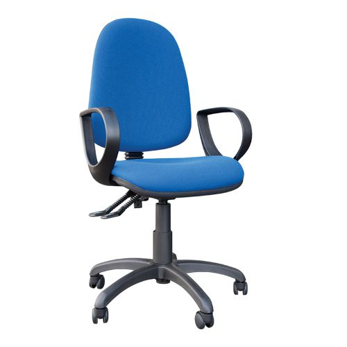 High Back Operators Chair With Fixed Arms, Cobalt Blue Fabric
