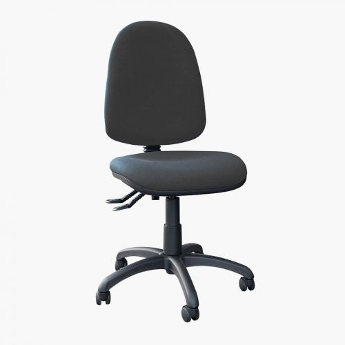 High Back Operators Chair With No Arms, Charcoal Fabric