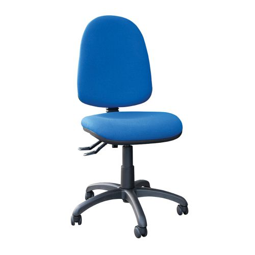 High Back Operators Chair With No Arms, Cobalt Blue Fabric