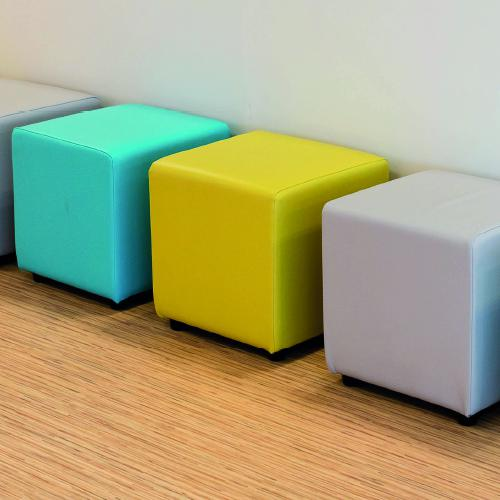 Low square cube pod, upholstered in choice of Camira fabric.