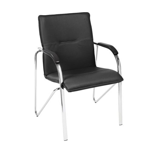 Meeting Armchair In Black Leather Imitation Vinyl With Black Armrests And A 4 Legged Chrome Frame