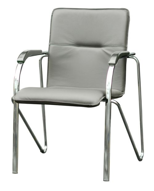 Meeting Armchair In Grey Valenica Platin 4043 Vinyl With Grey Armrests And A 4 Legged Chrome Frame