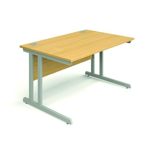 Cantilever Desk, 1200W X 800D X 740H, 25mm Top In Beech, Frame In Silver