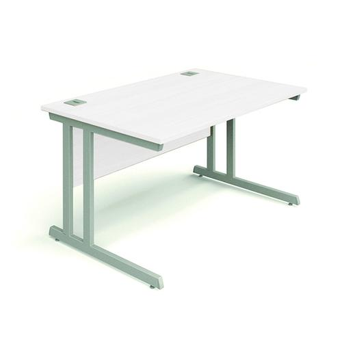 Cantilever Desk, 1200W X 800D X 740H, 25mm Top In White, Frame In Silver