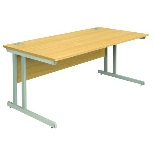 Cantilever Desk, 1400W X 800D X 740H, 25mm Top In Beech, Frame In Silver