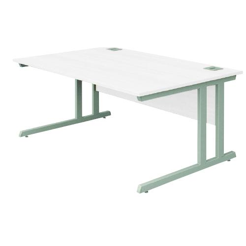 Cantilever Desk, 1400W X 800D X 740H, 25mm Top In White, Frame In Silver