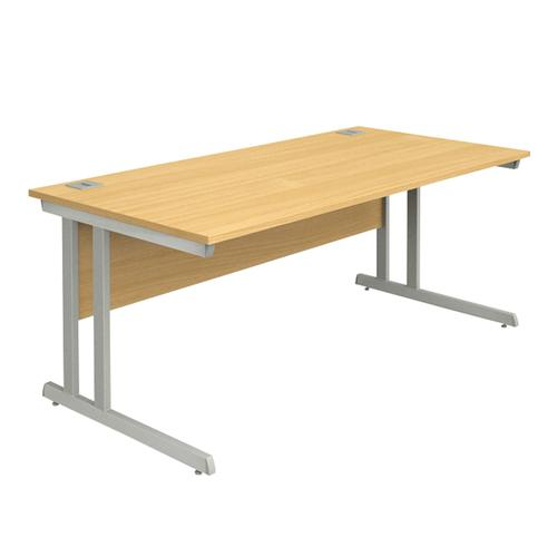 Cantilever Desk, 1600W X 800D X 740H, 25mm Top In Beech, Frame In Silver