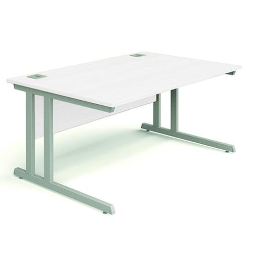 Cantilever Desk, 1600W X 800D X 740H, 25mm Top In White, Frame In Silver